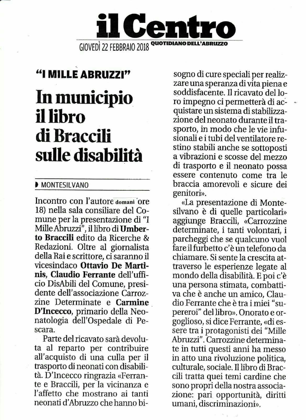 In municipio a Montesilvano il libro di Braccili sulle disabilità