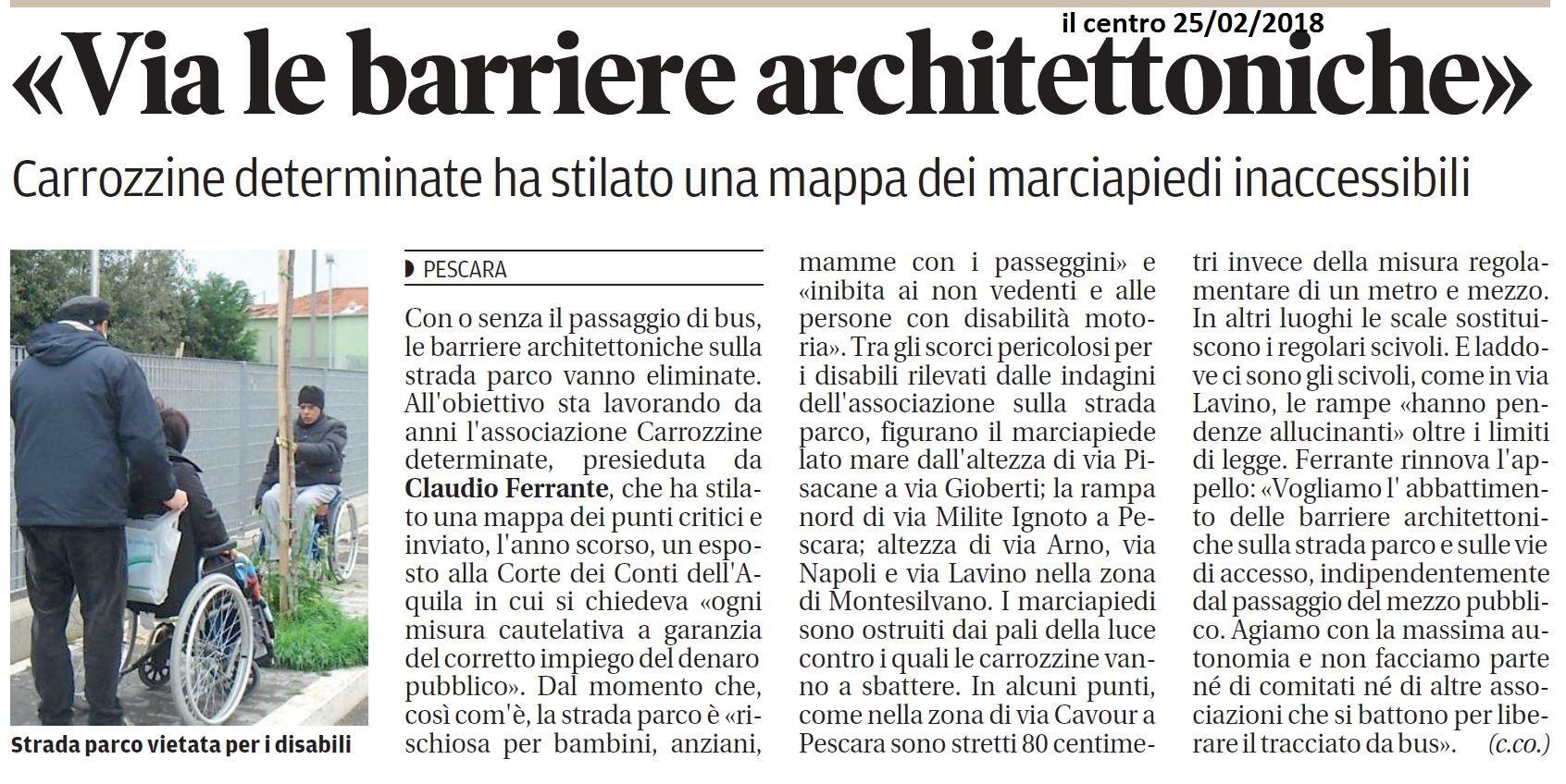 «Via le barriere architettoniche»