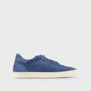 Sneaker in camoscio con logo impresso Armani