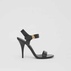 Sandali in pelle con monogramma Burberry